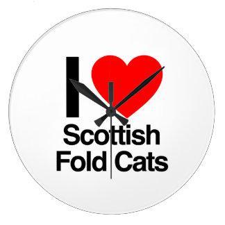 amo gatos del doblez del escocés reloj redondo grande