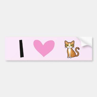 Amo gatos (diseñe su propio gato del dibujo animad etiqueta de parachoque