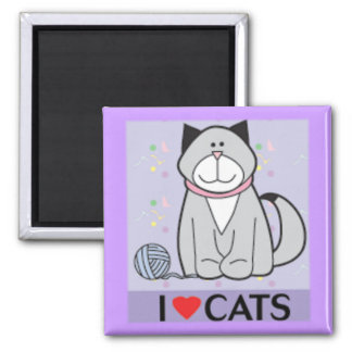 Amo gatos imán cuadrado