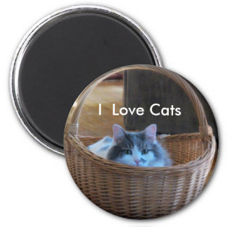 Amo gatos imán redondo 5 cm