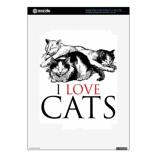 Amo gatos iPad 3 pegatinas skins