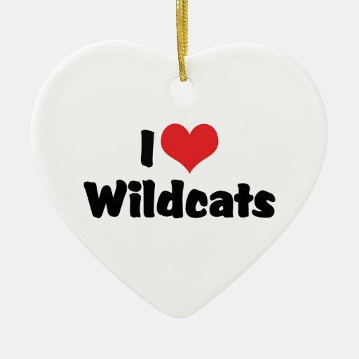 Amo gatos monteses del corazón adorno navideño de cerámica en forma de corazón