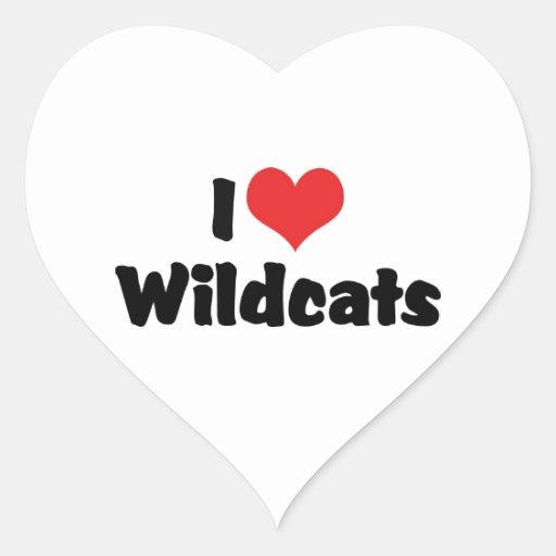 Amo gatos monteses pegatina en forma de corazón