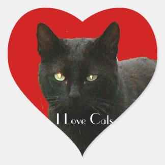 Amo gatos negros pegatina en forma de corazón