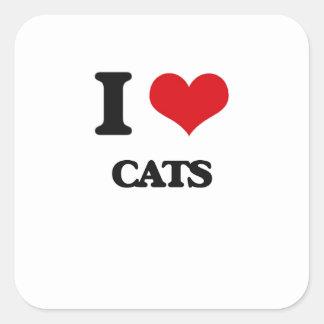 Amo gatos pegatina cuadrada
