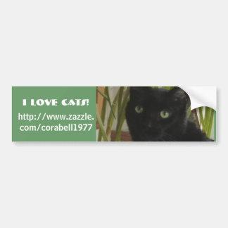 ¡Amo gatos! Pegatina De Parachoque