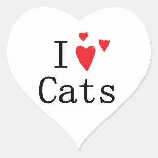 Amo gatos pegatina en forma de corazón