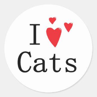 Amo gatos pegatina redonda