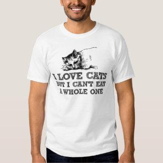 Amo gatos pero no puedo comer entero playera