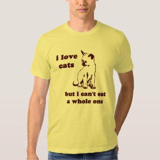 Amo gatos pero no puedo comer entero playeras
