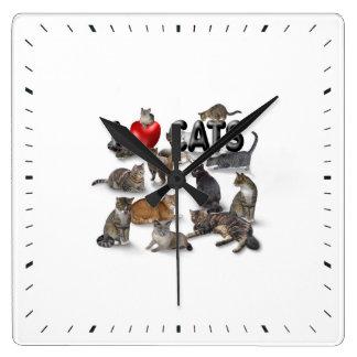 Amo gatos reloj cuadrado