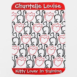 ¡Amo gatos! Rojo+Negro en el blanco Mantitas Para Bebé