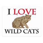 Amo gatos salvajes tarjetas postales