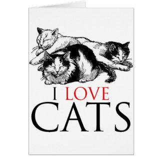 Amo gatos tarjeta