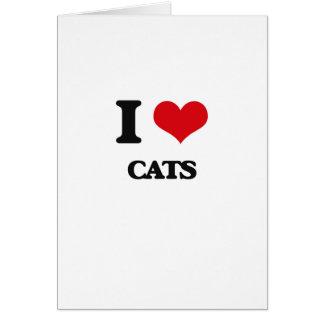 Amo gatos tarjeta de felicitación