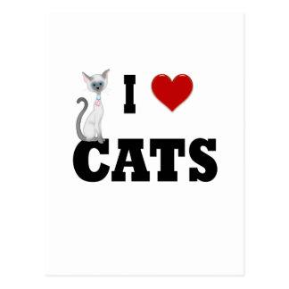 Amo gatos tarjeta postal