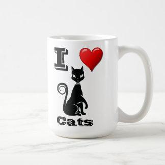 Amo gatos taza básica blanca