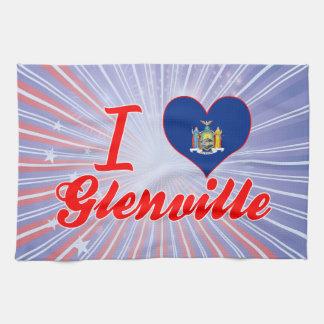 Amo Glenville, Nueva York Toalla De Cocina