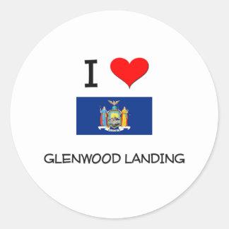 Amo Glenwood que aterriza Nueva York Pegatina Redonda