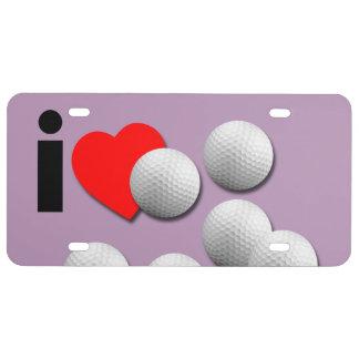 Amo golf. Elija sus propios colores Placa De Matrícula