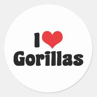 Amo gorilas pegatina redonda
