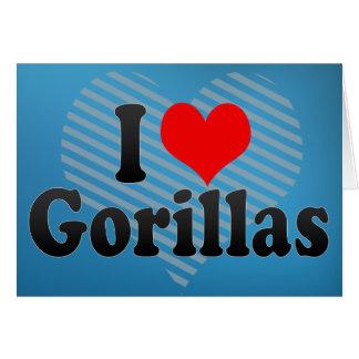 Amo gorilas tarjeta de felicitación