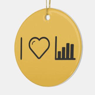 Amo gráficos de negocio adorno navideño redondo de cerámica