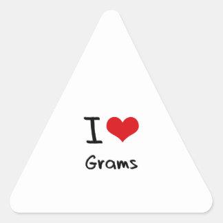Amo gramos pegatina trianguladas personalizadas