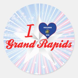 Amo Grand Rapids, Wisconsin Etiqueta Redonda