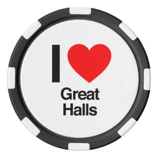 amo grandes pasillos juego de fichas de póquer
