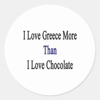 Amo Grecia más que el chocolate del amor de I Pegatina Redonda