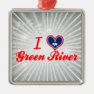 Amo Green River, Wyoming Adorno Navideño Cuadrado De Metal