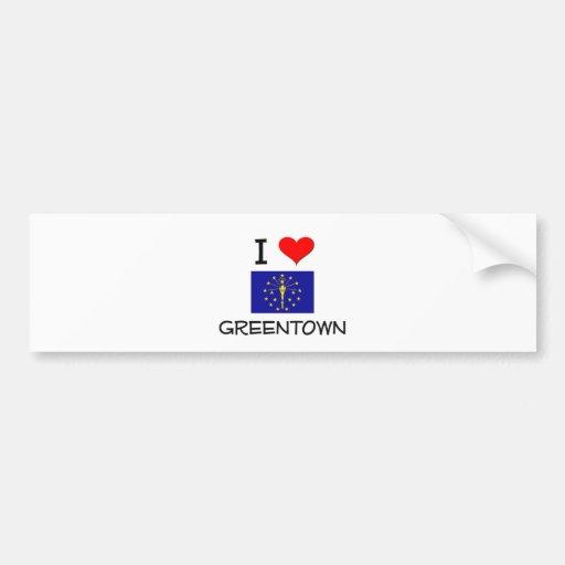 Amo GREENTOWN Indiana Etiqueta De Parachoque