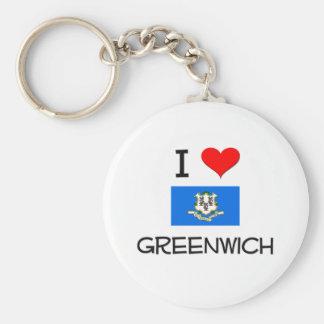 Amo Greenwich Connecticut Llavero Redondo Tipo Pin