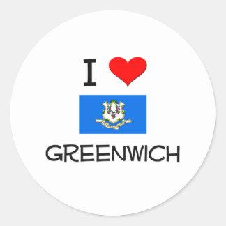 Amo Greenwich Connecticut Pegatina Redonda
