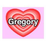 Amo Gregory. Te amo Gregory. Corazón Postal