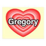 Amo Gregory. Te amo Gregory. Corazón Postales