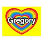 Amo Gregory. Te amo Gregory. Corazón Tarjetas Postales
