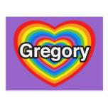 Amo Gregory. Te amo Gregory. Corazón Tarjeta Postal