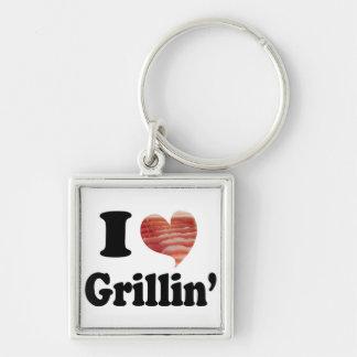 Amo Grillin Llavero Cuadrado Plateado
