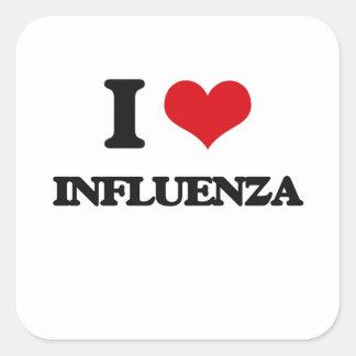 Amo gripe pegatina cuadrada