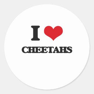 Amo guepardos pegatina redonda