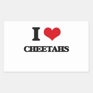 Amo guepardos pegatina rectangular