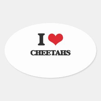 Amo guepardos pegatina ovalada