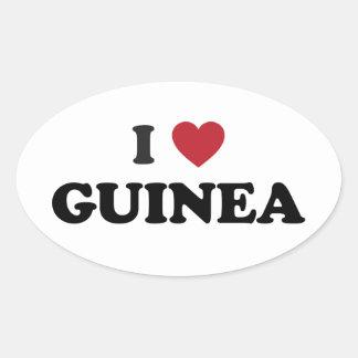 Amo Guinea Pegatina Ovalada