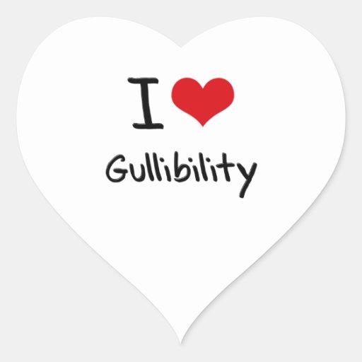 Amo Gullibility Calcomanías Corazones