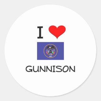 Amo Gunnison Utah Pegatina Redonda