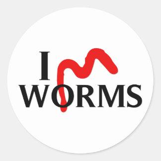Amo gusanos pegatina redonda