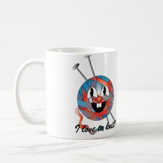 Amo hacer punto la taza del té del café