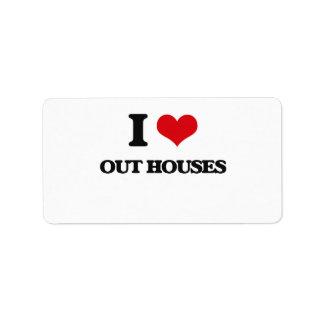 Amo hacia fuera casas etiquetas de dirección